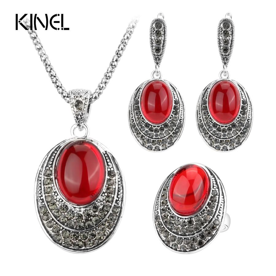 Kinel Moda Oval Conjuntos de Jóias Para As Mulheres Vermelho Cor Prata Antiga Retro Colares Anéis E Brincos de Cristal Presente 2017 Nova