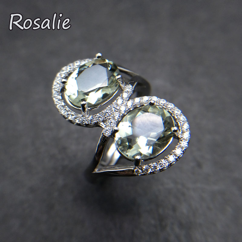 Rosalie, 4ct Natural Green amethyst quartz oval 7*9mm gemstone Ring solid 925 sterling silver jewelry for women dailry wear gift