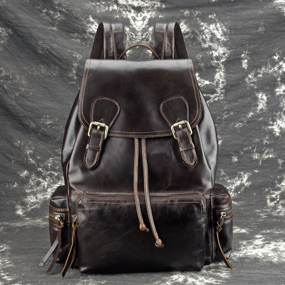 High Quality Genuine Leather Knapsack Oil Wax Cowhide Backpack Computer School Book Bag Travel Male Rucksack School DaypackHigh Quality Genuine Leather Knapsack Oil Wax Cowhide Backpack Computer School Book Bag Travel Male Rucksack School Daypack