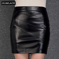 Black Large Size 6XL Sheepskin Real Leather Sexy Mini Skirts Lady Genuine Leather Skirts Slim Straight Women Luxury Work Skirt