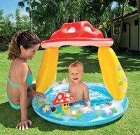 Children Swimming Pool Inflatable Baby Infant Swimming Pool with Sunshade Cover Portable Children Water Play Pool Basin Mushroom