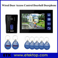 "Access Control 7""LCD Touch Key Video Door Phone Doorbell Intercom System IR Camera RFID Keyfobs,Unlocking,Calling,Monitoring"