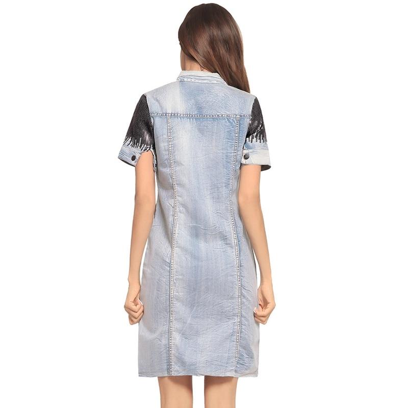 Denim Ligne Vers Blue Robe Split Femmes Bas Robes Paillettes Le Mini De D'été Turnn Col Fogimoya Jeans Dreesses 2018 Haut Une SwdBSq