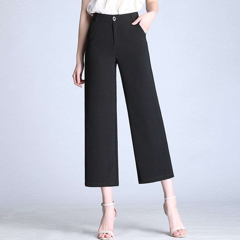 Plus Size S-6XL Women Casual Trousers 2019 New Spring Summer High Waist   Wide     Leg     Pants   Female Chiffon Cropped   Pants