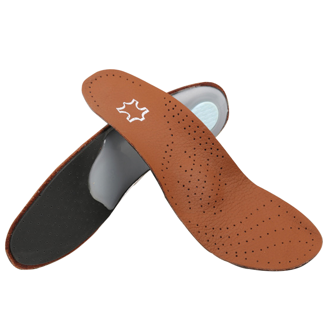 Best sale PU Leather Latex Orthopedic Insole Antibacterial Active Carbon Orthotic Arch Support Instep Cowskin Flat Foot Shoe Pad