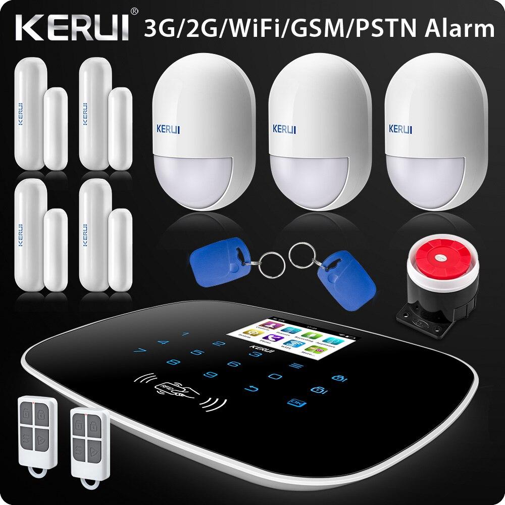 W193 3g 4g wifi pstn gsm sms casa alarme do assaltante lcd gsm sms tela de toque alarme de segurança em casa sistema de intrusão app controle