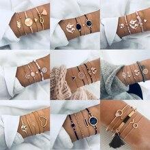 9 Styles Charm Love Heart Shell Map Tassel Multilayer Bracelet Women Bohemian Sets Bracelets for Jewelry Gifts