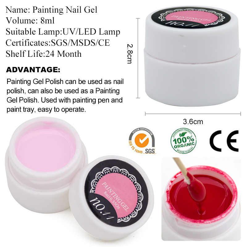 BUKAKI 1 pièces pur paillettes peinture Gel vernis à ongles Semi Permanent bricolage Nail Art ensemble 12 couleurs dessin Gel vernis