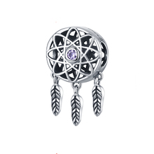 100% 925 Sterling Silver Dream Catcher Dreamcatcher Beads Charm Fit Original Charm Bracelet Necklace Jewelry Gift CQC330 цена