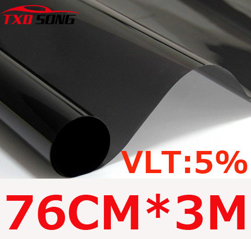 76cm*300cm/Lot Dark Black Car Window Tint Film Glass VLT 5%/ Roll 1 PLY Car Auto House Commercial Solar Protection Summer