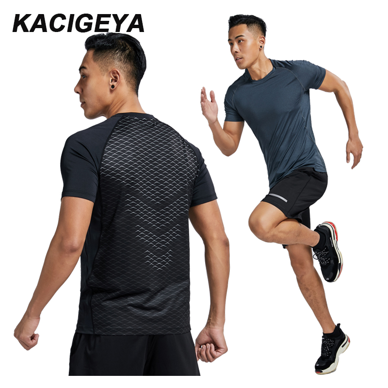 Men T Shirt Running Sports Quick Dry Tight Outdoor Bodybuilding Compression Fitness T-Shirt Elastic Jogging Short Sleeves Gym