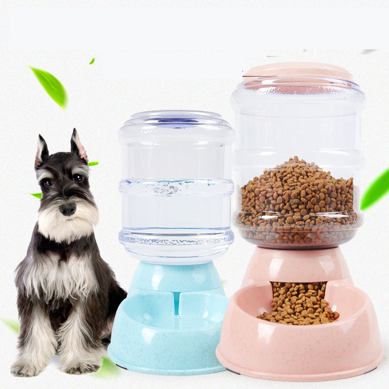 2PCS Replenish Pet Food for Dog Cat Animal Automatic Gravity Dry Food Storage Bottle Bowl Dish Stand Pet Waterer Feeder MayT4 image