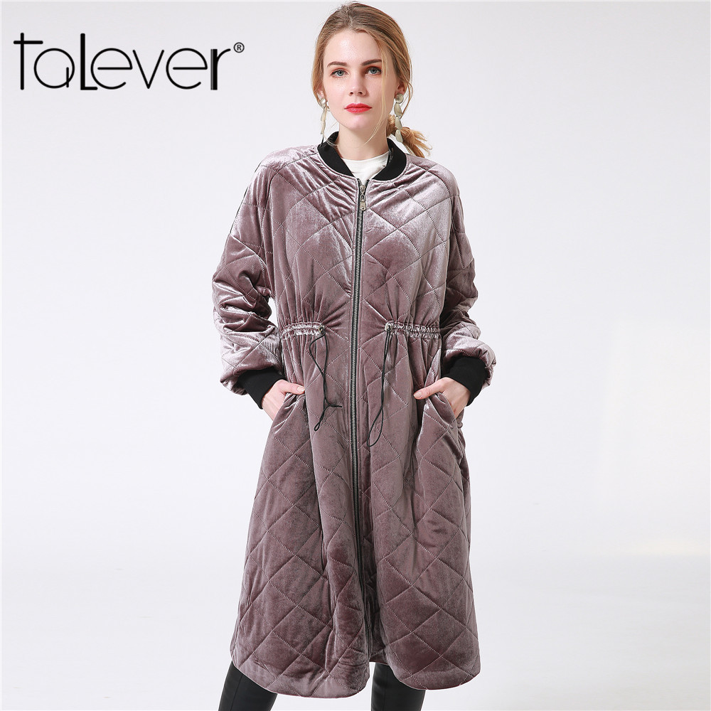 2017 Winter Women Thick Long Down Jacket Fashion Casual Female Pockets Sashes Slim Cotton Warm   Parka   Women's Outerwear Talever