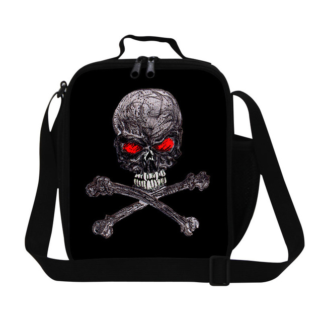 personalized adult lunch bag for office work,boys designer shoulder lunch cooler bag,skull food bag,children's fashion meal bag