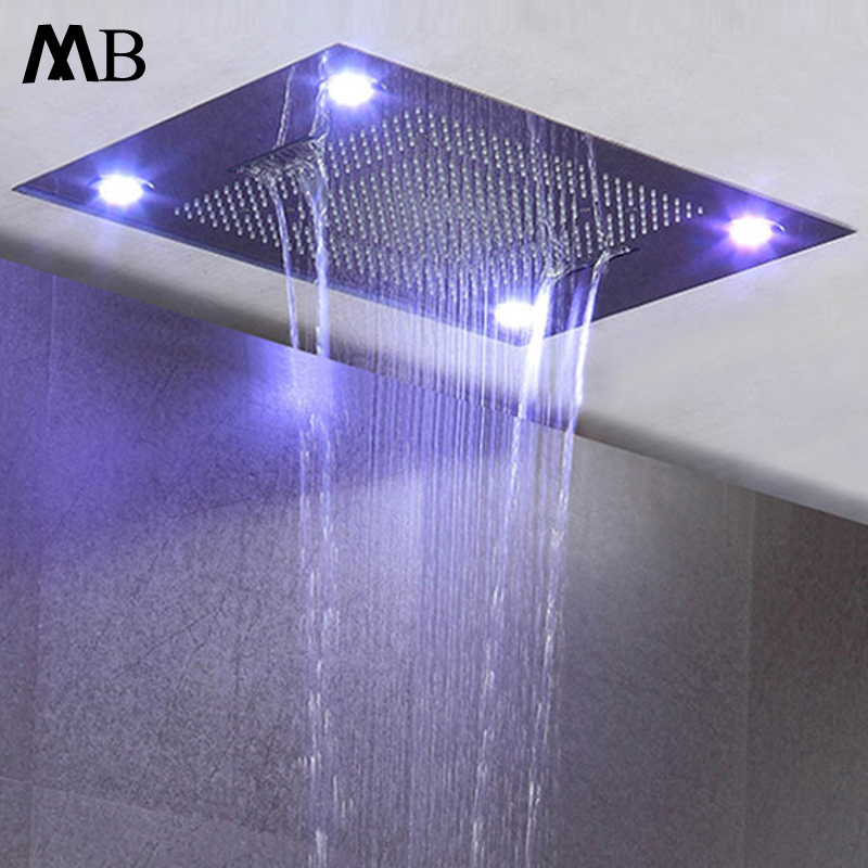 Ceiling Embedded Rainfall Waterfall LED Shower Head Big Water Curtain Showerhead Bathroom 600800mm 3