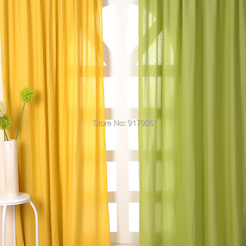 2014 New Fashion Summer Green Curtains For Living Room,Elegant Yellow Sheer  Bedroom Window Screen Part 61