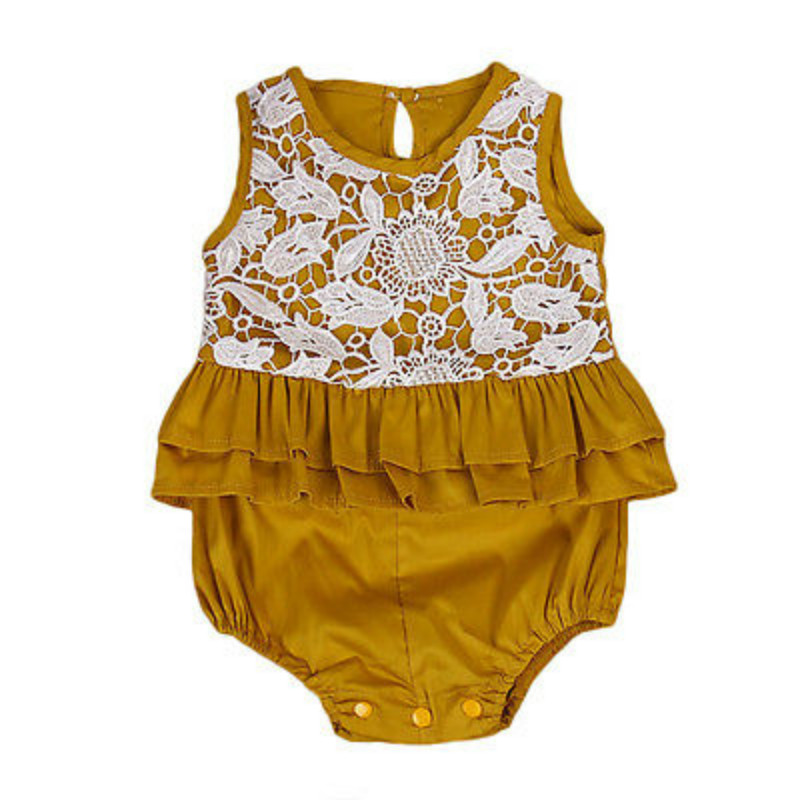 Newborn Infant Baby Girls Lace Floral Crochet Romper Kids Ruffles Sleeveless Cotton Playsuit Jumpsuit Outfits Sunsuit Clothes puseky 2017 infant romper baby boys girls jumpsuit newborn bebe clothing hooded toddler baby clothes cute panda romper costumes