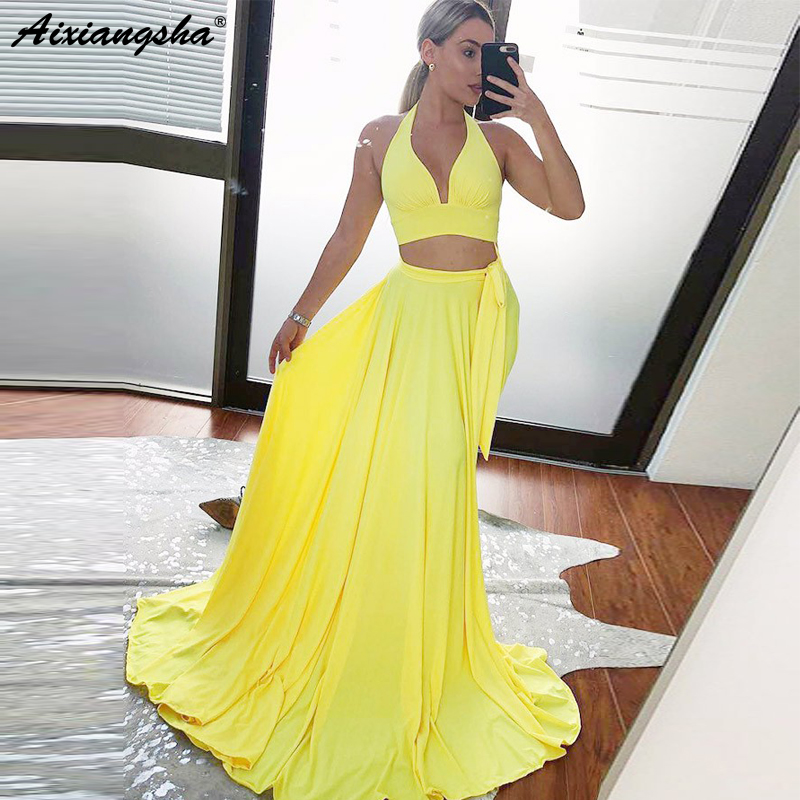 New Listed 2019 Sexy Two Piece V-Neck Halter Formal Evening Party Gowns with Split Yellow Satin Long   Prom     Dresses