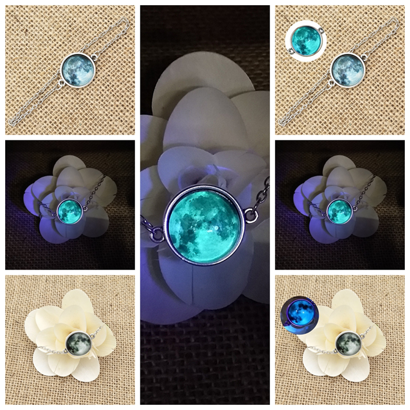 SUTEYI Glass Luminous Star Series Planet Necklace Crystal Cabochon Bracelet Glow in the Darkness Bracelet Christmas