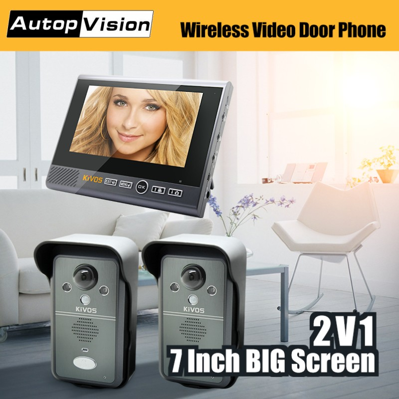 KDB702 2v1 Wireless Video Door Phone Smart Video Intercom Doorbell With 2 Cameras 1 Monitor For Home/ Villa/ Apartment