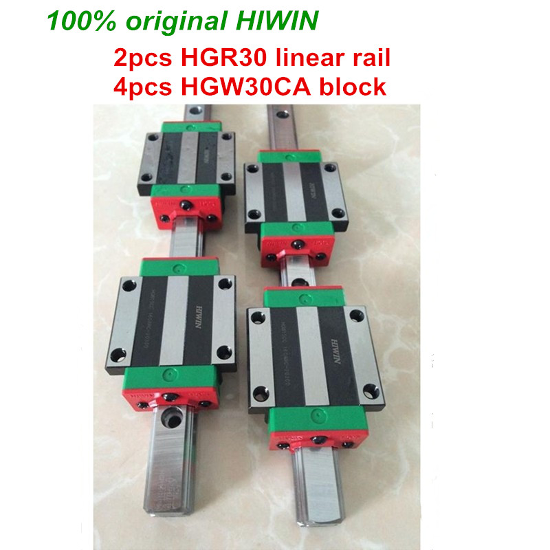 100% originale HIWIN 2 pz HGR30 200mm 300mm 400mm 500mm 600mm 700mm 800mm 1000mm Guida Lineare rail + 4 pz HGW30CA Hiwin trasporto