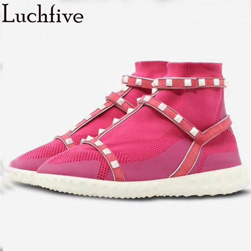 2018 Casual Knitted Elastic Ankle Boots for women white rivets studded platform Flat heels sneakers Socks Shoes Female Booties fashionable casual stripe knitted elastic socks ankle boots flat comfortable wool short boots shoes women female booties