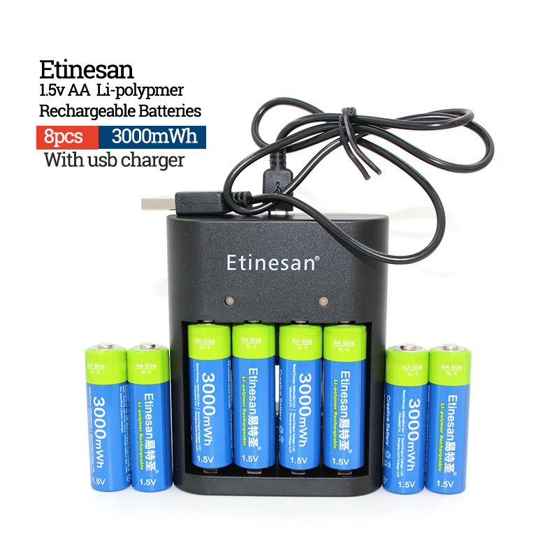 Etinesan 1.5v 3000mWh Li-polymer li-ion lithium Rechargeable AA battery batteries + 4 slots Charger