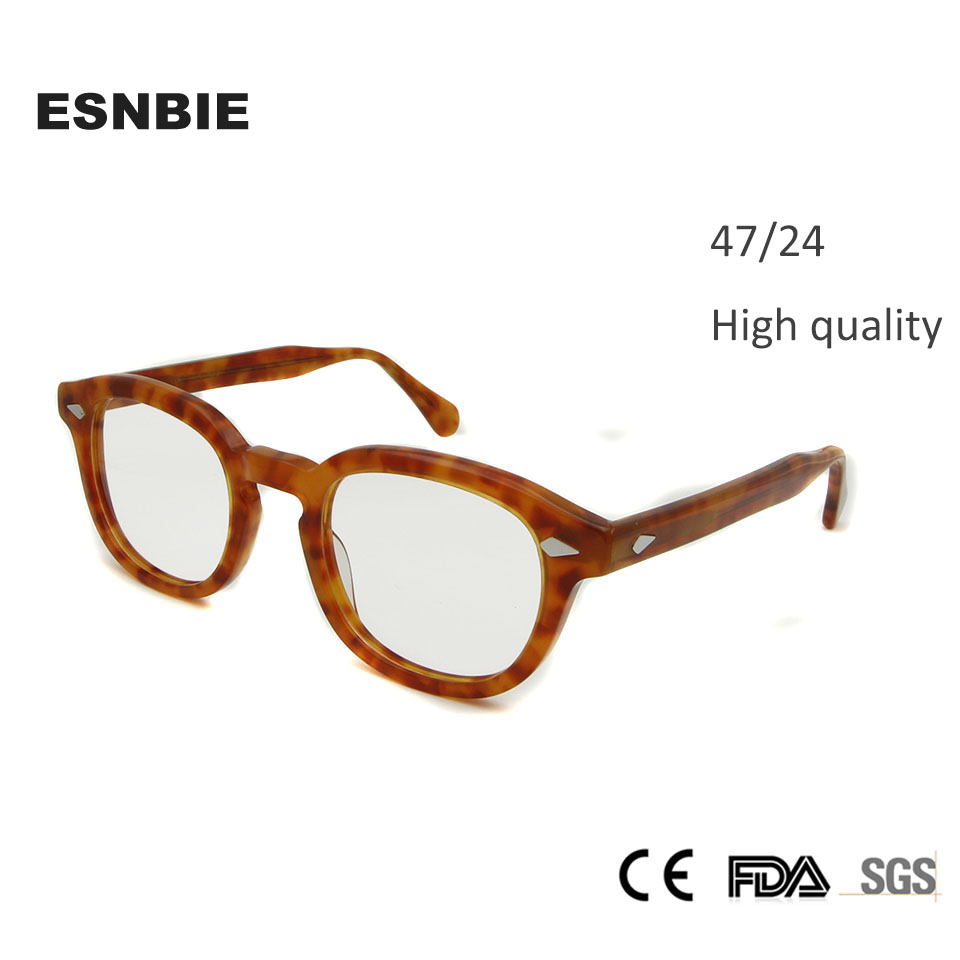 ESNBIE 47mm Högkvalitativa Johnny Depp Glasögonramar Men Vintage Round Frame Glasses Herrar Retro Optisk Ram Rx