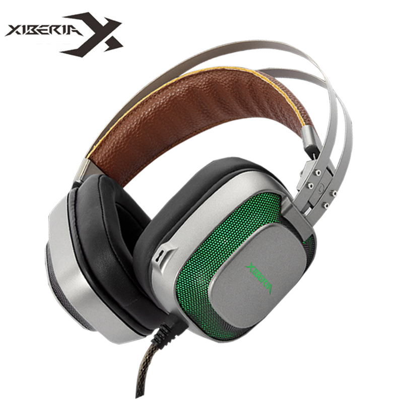 XIBERIA K10 Over-ear Gaming Headset USB Computer Stereo Heavy Bass Game Headphones with Microphone LED Light for PC Gamer nubwo n2u pc gamer headset usb stereo gaming headphones with microphone mic led light best over ear casque computer game headset