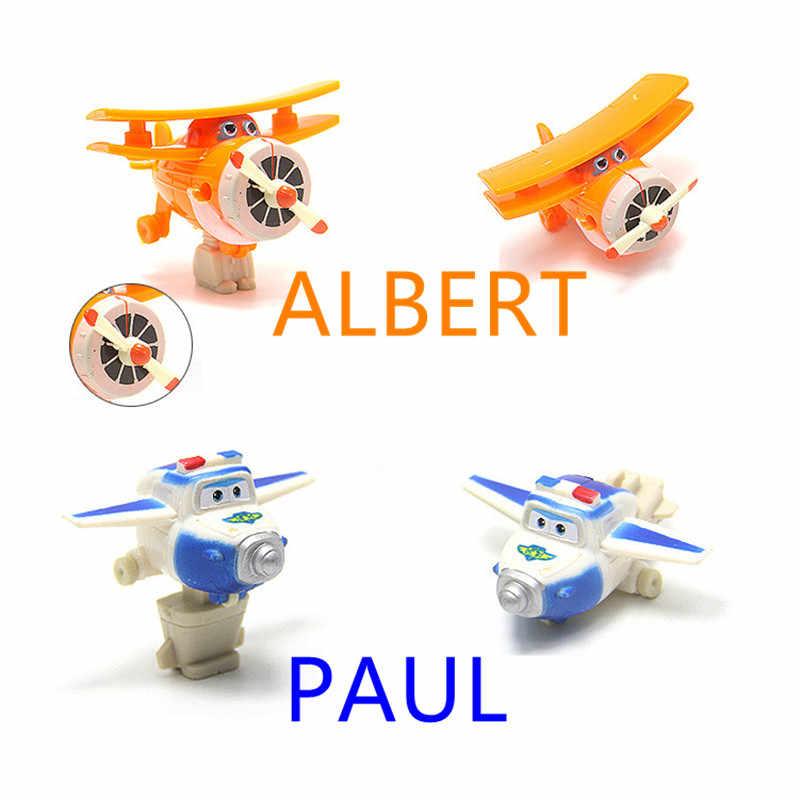 F50-8 pçs/lote Super Asas de Avião Mini ABS Transformação Robot brinquedos Figuras de Ação Super Asa Jato de Animação para Crianças Dos Miúdos presente