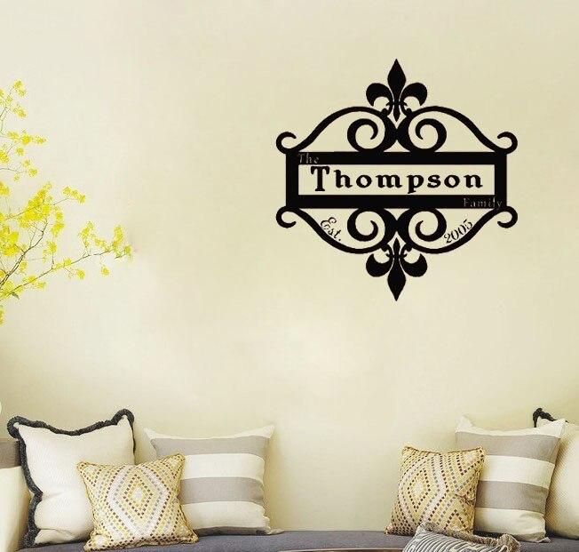 Amazing FLEUR DE LIS PERSONALIZED Family Name Est Date Wall Decals Vinyl Stickers  Home Decor Living Room Part 14