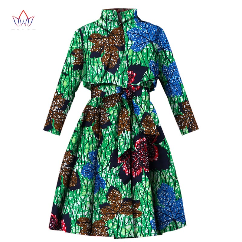 2019 Autumn African   Trench   Coat for Women Plus Size African Clothing Africa Print Outfits Dashiki Office Outwear WY1165