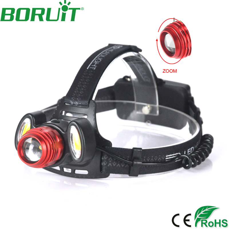 BORUiT XML T6 LED Headlamp Flashlight Zoomable Portable Rechargeable Headlight Tactical Camping Hunting Head Torch Light 18650