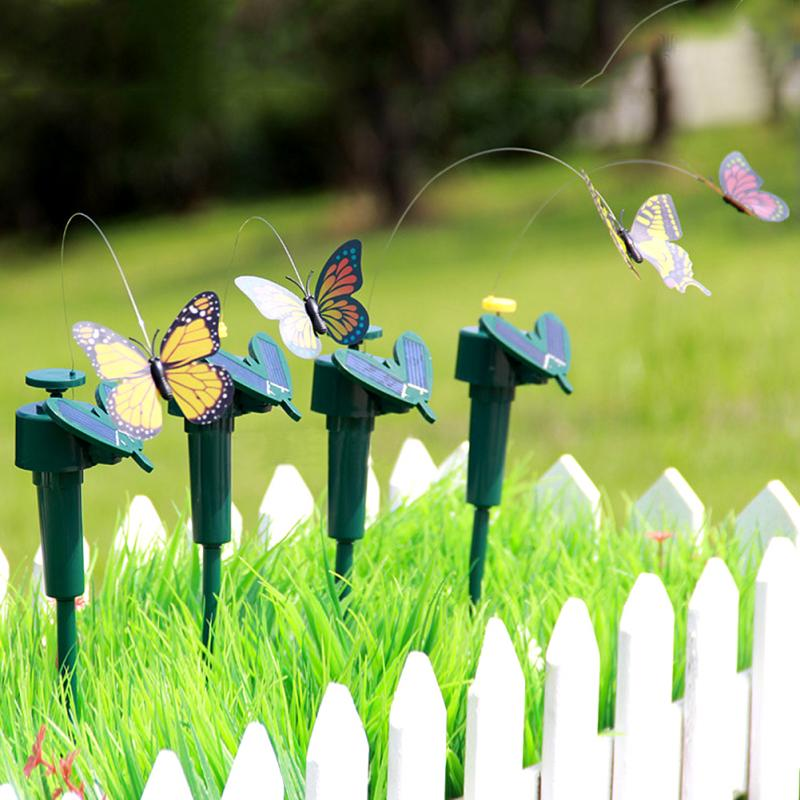 Vibration Solar Power Dancing Flying Fluttering Butterflies Garden  Decoration(China (Mainland))