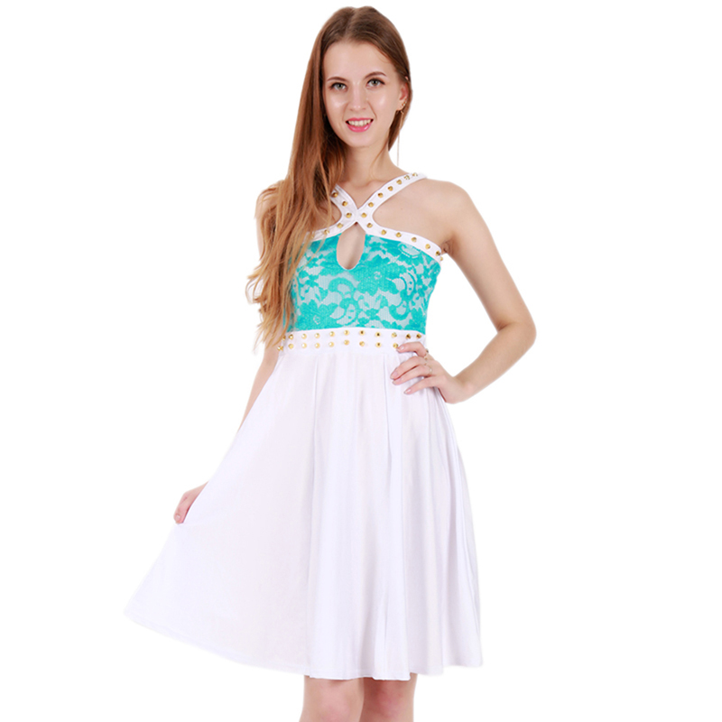 Plus Size Summer Party Dress Halter Sleeveless Casual Ladies Sexy Blue Lace Rivets Spliced Chic Elegant Cheap Dresses 2XL