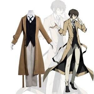 Image 1 - Anime Bungo Cani Randagi Costume Detective Agency Osamu Dazai Cosplay Mens Trench e Impermeabili Cappotto 2019 di Nuovo Modo Degli Uomini Del Progettista Lungo Cappotto