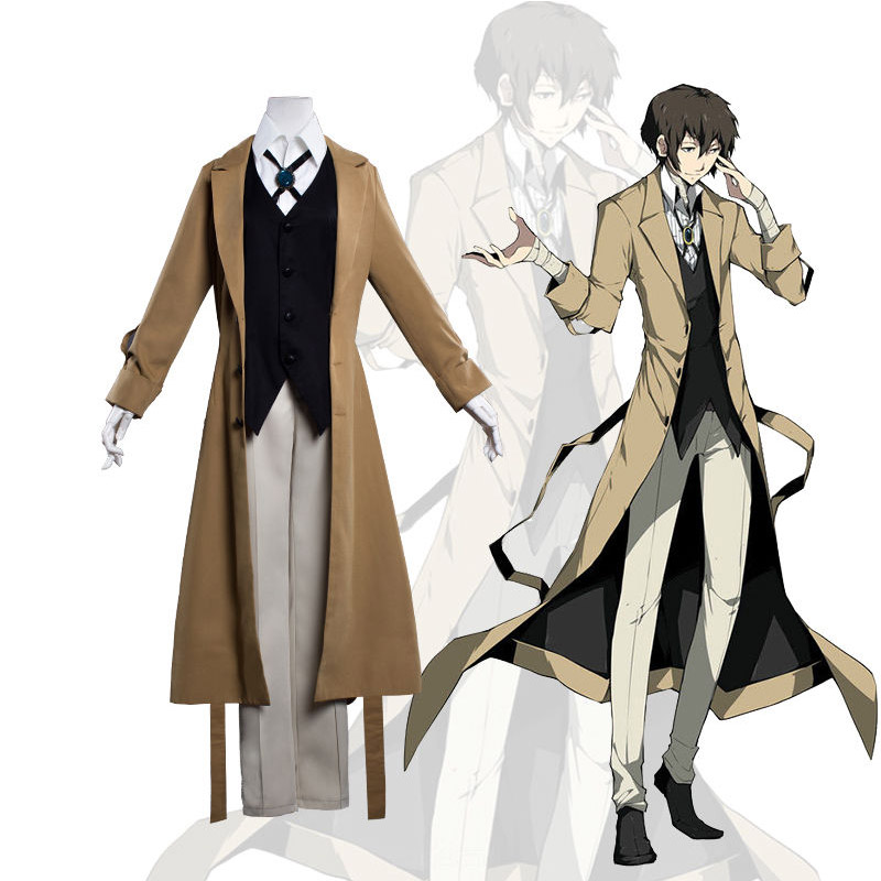 Anime Bungo Stray Dogs Costume Detective Agency Osamu Dazai Cosplay Man's Trench Coat Suit Set Pants Vest Halloween Costume