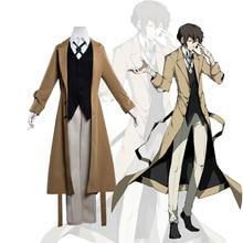 Anime bungo cães vadios traje agência detetive osamu dazai cosplay masculino trench coat 2019 nova moda designer longo casaco
