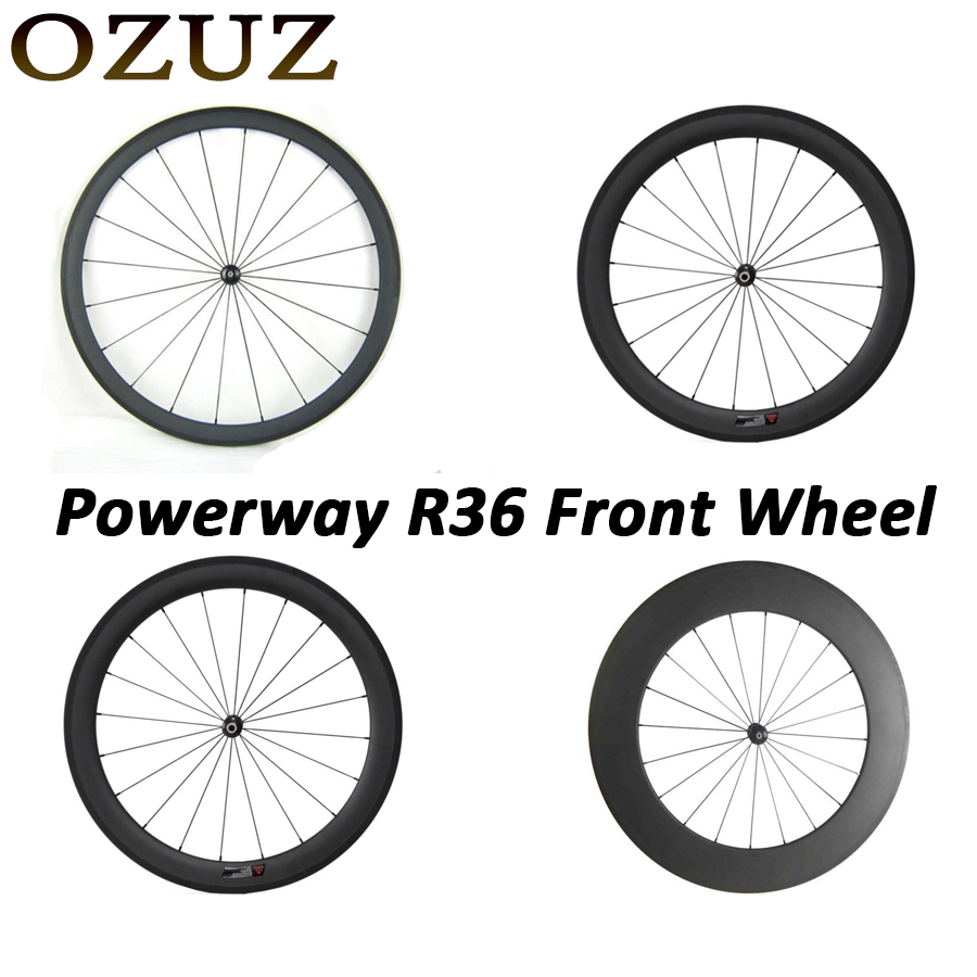 Powerway R36 OZUZ 700C 24mm 38mm 50mm 60mm 88mm Clincher Tubular Carbon Road Bike Bicycle Carbon Wheels Racing Only Front Wheel nextorch ta3 set