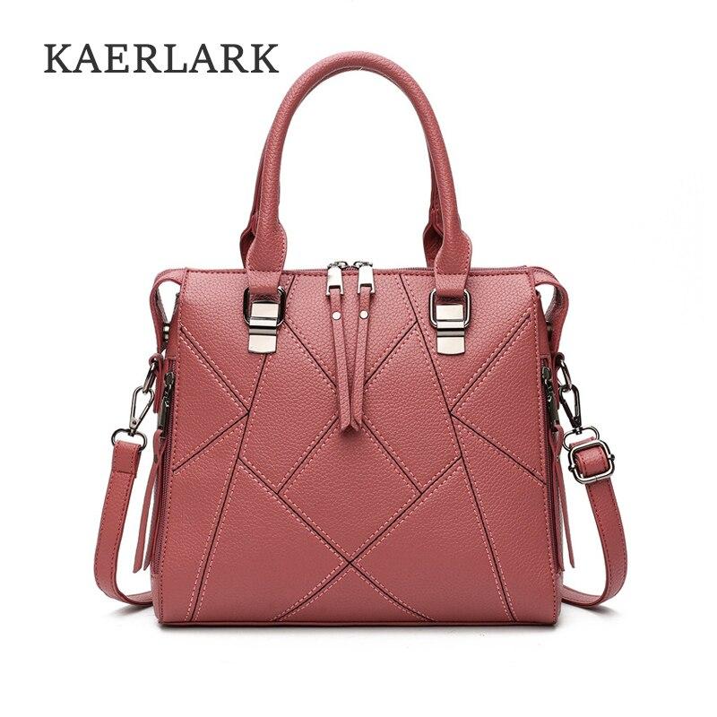 все цены на  KAERLARK Brand New 2017 Fashion Women Handbags Casual Tote Shoulder Female Woman Bags Patchwork Soft PU Leather HandBags WT0126  онлайн