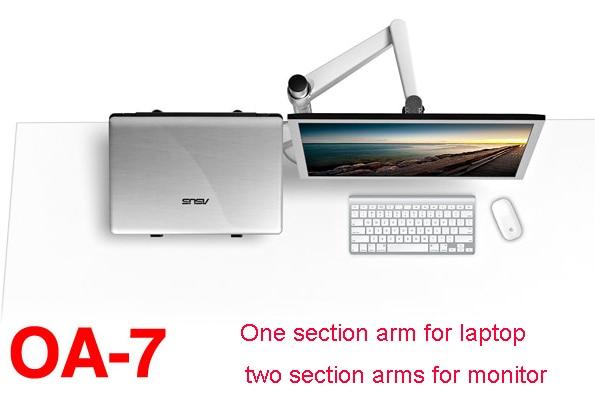 OA-7 Multimedia Full Motion Desktop Dual Arm LCD Monitor Holder+ Single Arm Laptop Holder Stand BracketOA-7 Multimedia Full Motion Desktop Dual Arm LCD Monitor Holder+ Single Arm Laptop Holder Stand Bracket