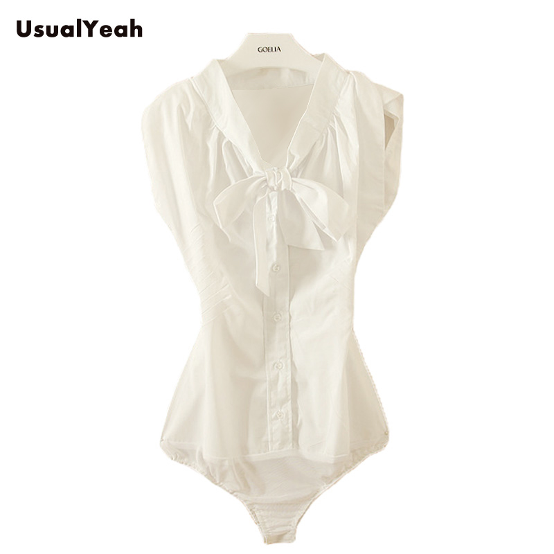 ObvykleYeah Casual Women Sailor Collar BOW Petal Sleeve Body Shirt Summer Sleeve Bavlněná halenka Módní Kancelářská Košile bílá SY0153