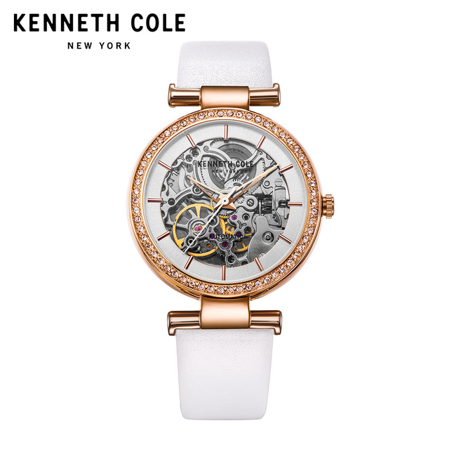 aa6cdea5779 Kenneth Cole Original Women Watches Auto Mechanical Ladies Watch KC15107001  Leather Strap Khaki White Luxury Brand Watches