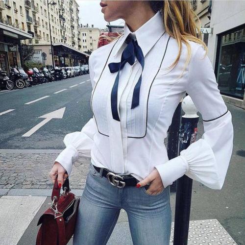 Streetwear 2017 Women Loose Autumn Top White Colors Blouse Lady Casual Long Lantern Sleeve Tops Shirt