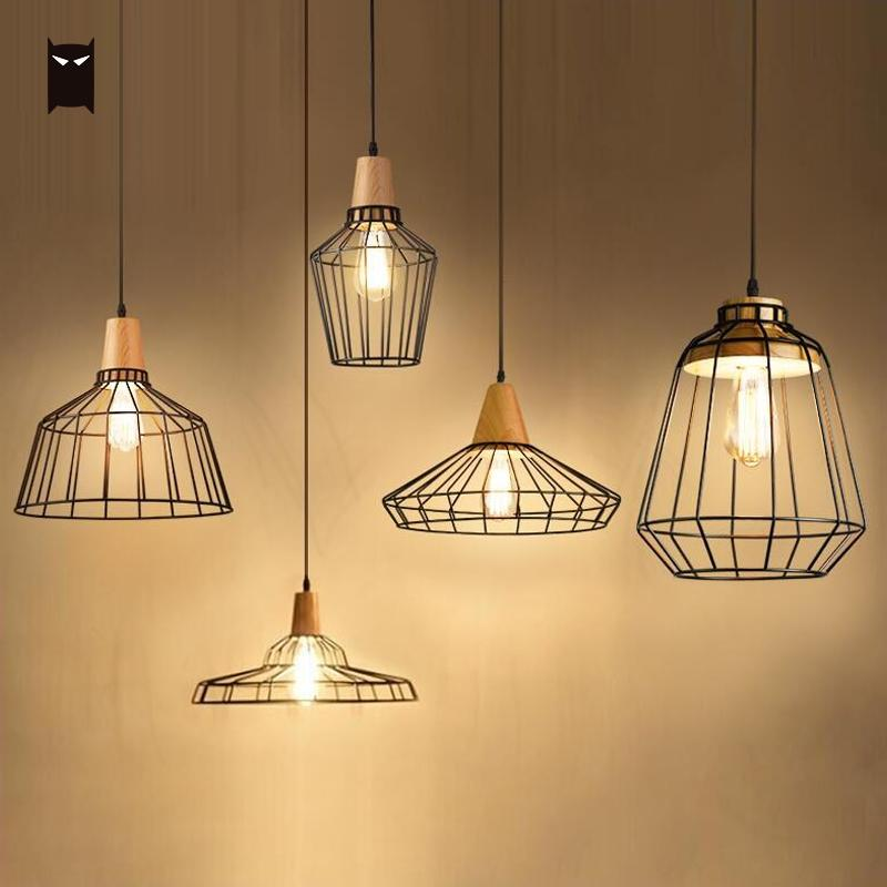Black Wood Iron Line Bird Cage Pendant Light Fixture Retro Vintage Hanging Ceiling Lamp Luminaire for Dining Table Room Kitchen vintage pendant light oak wood retro lamp 100cm wire e27 socket hanging triangle rope light fixture 100 240v luminaire lamparas
