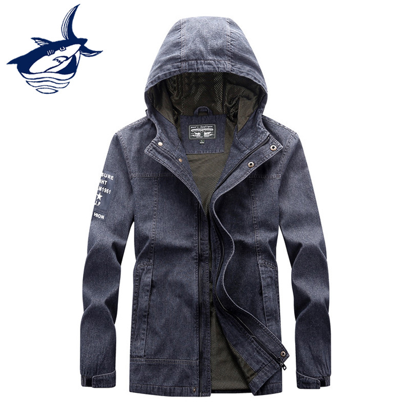 New Arrival Autumn Casual Mens Denim Jacket Brand Tace & Shark Jeans Hooded Jacket Classic Letter Printed jaqueta masculino