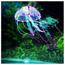 "Real Acuarios Hot Selling! 5.5"" Glowing Effect Artificial Jellyfish For Aquarium Fish Jar Tank Ornament Swim Decoration On Sale(China)"