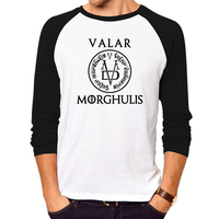T Shirt Men Women Cool T Shirts Hot Valar Morghulis Sign T Shirt Male Long Sleeve