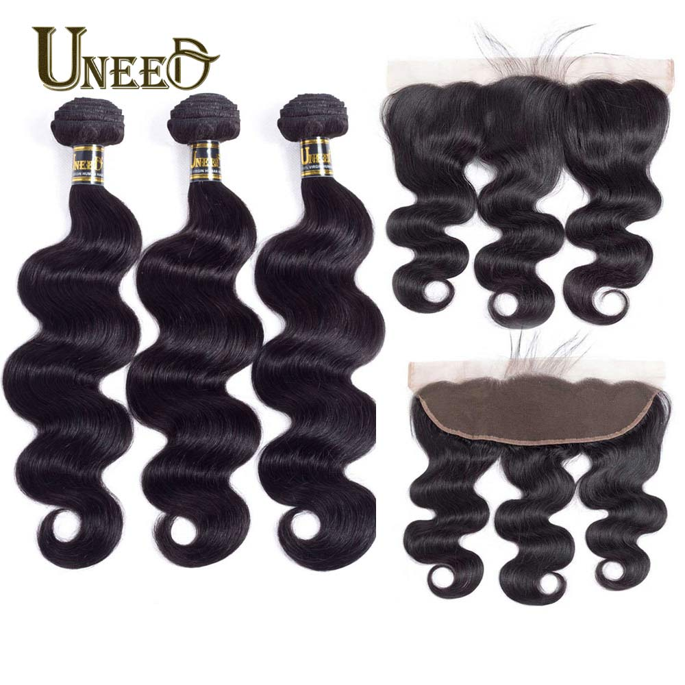 Uneed Hair Peruvian Body Wave Weave With Frontal Closure Human Hair 3Bundles With Lace Frontal 13