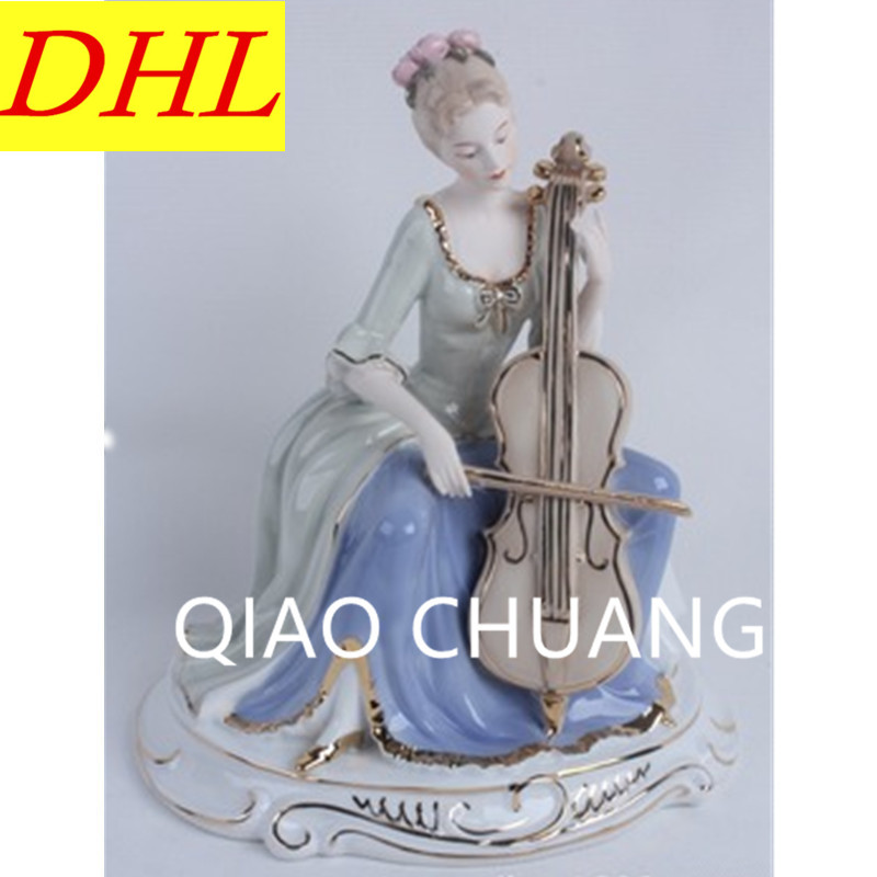 European Style Cello Western Women Statue Ceramics Purely Manual Art Craft Living Room Furnishing Articles G1241European Style Cello Western Women Statue Ceramics Purely Manual Art Craft Living Room Furnishing Articles G1241